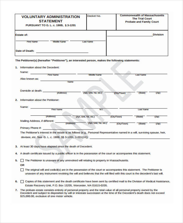 voluntary administration statement form