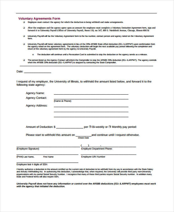 voluntary deduction agreement form