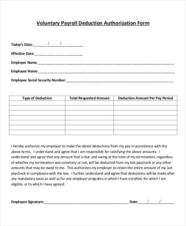 voluntary payroll authorization form