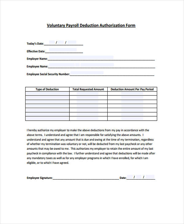 voluntary payroll deduction authorisation form