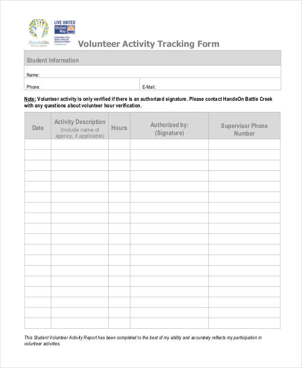 volunteer activity tracking form1