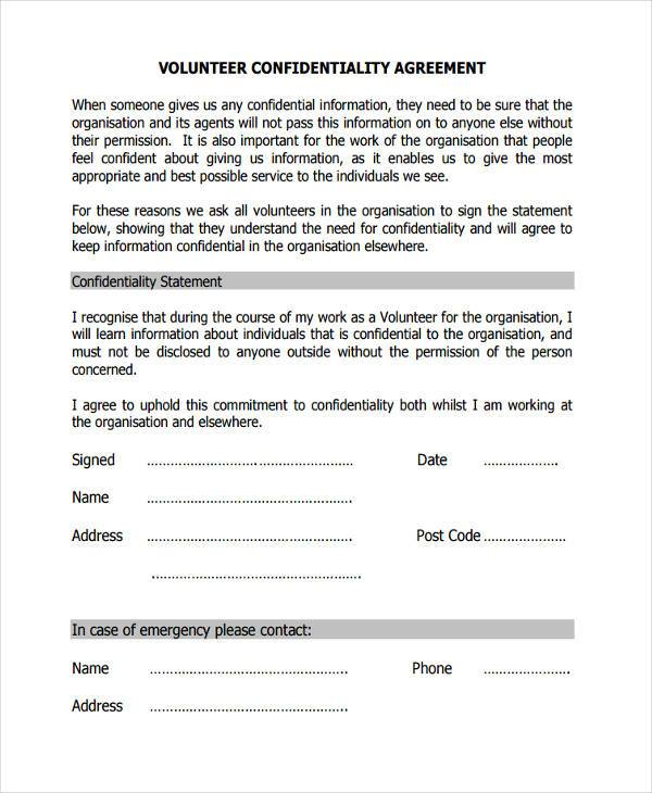 volunteer confidentiality agreement form