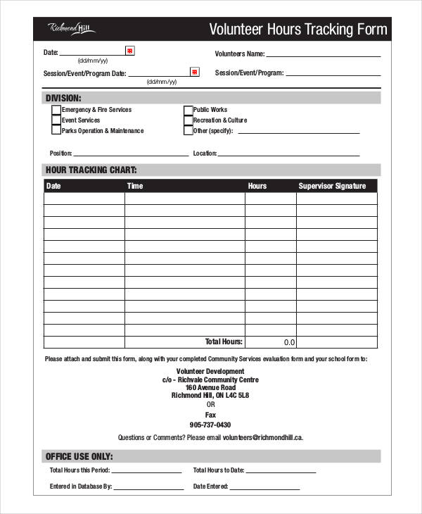 volunteer hours tracking form2