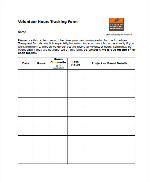 volunteer hours tracking form4