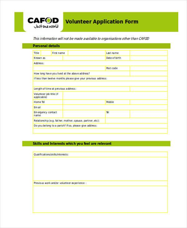 volunteer job application form