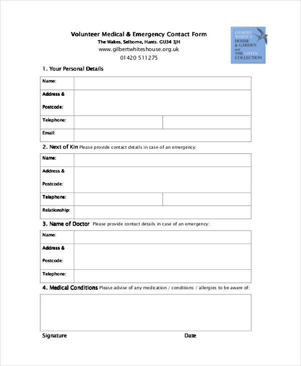 volunteer medical emergency contact form