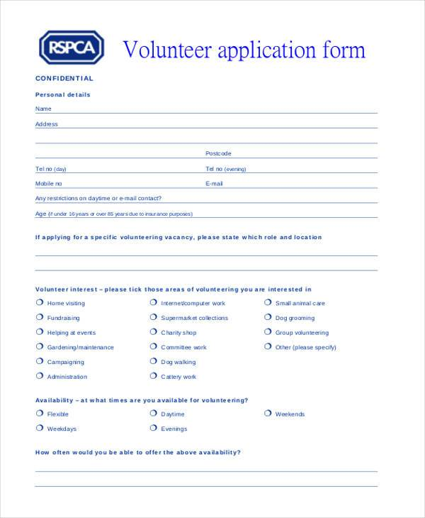 volunteer personal application form