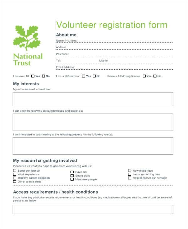 volunteer registration application form