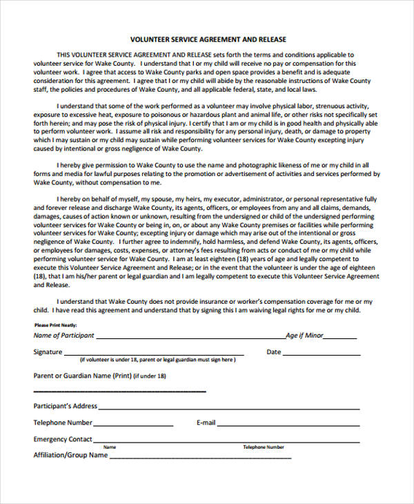 volunteer service agreement release form
