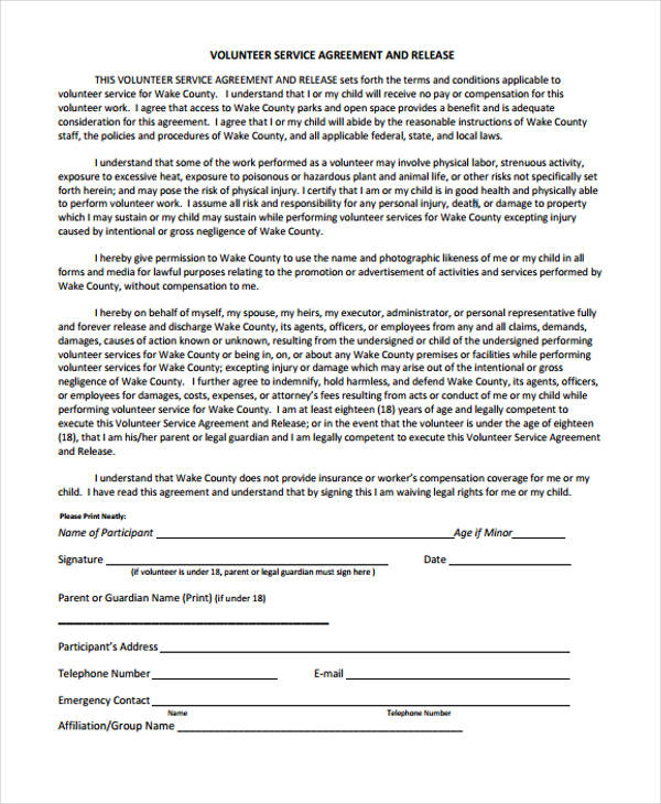 volunteer service agreement release form1
