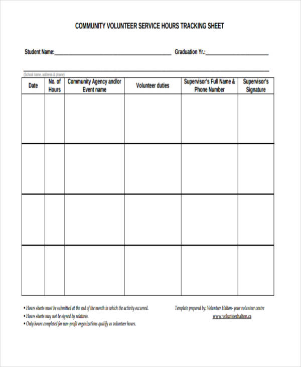 volunteer time tracking form