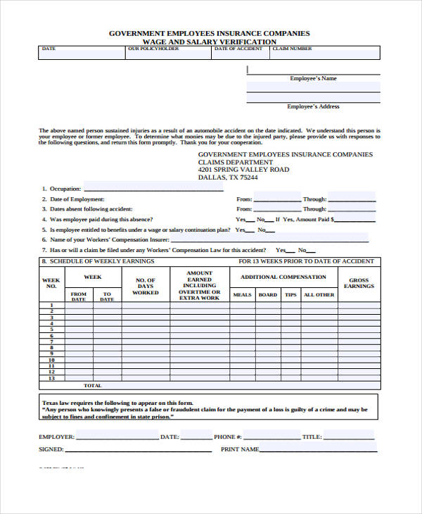wage and salary verification forms