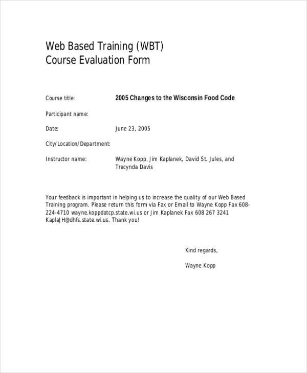 web based course training evaluation form