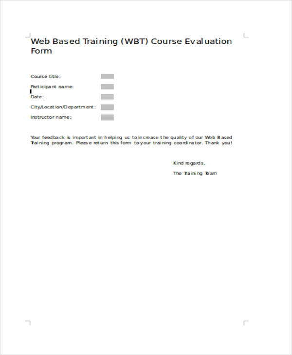 web based course training evaluation form1