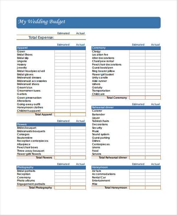 wedding budget worksheet form2