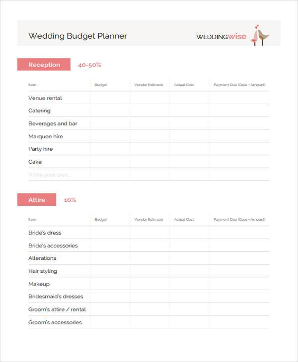wedding planning budget form1