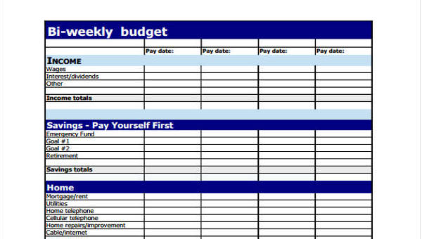 9 weekly budget form free sample example format download