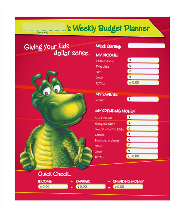 weekly budget planner form