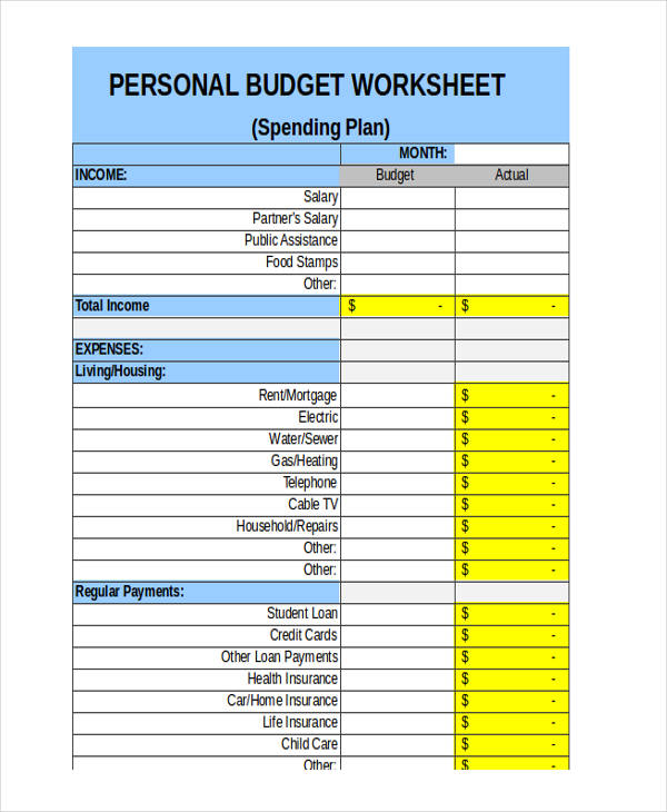weekly budget worksheet form
