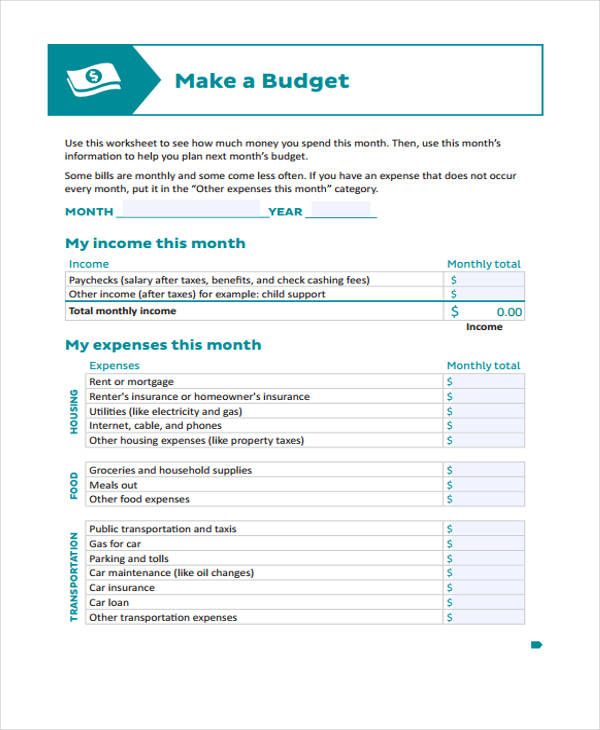 weekly budget worksheet form1