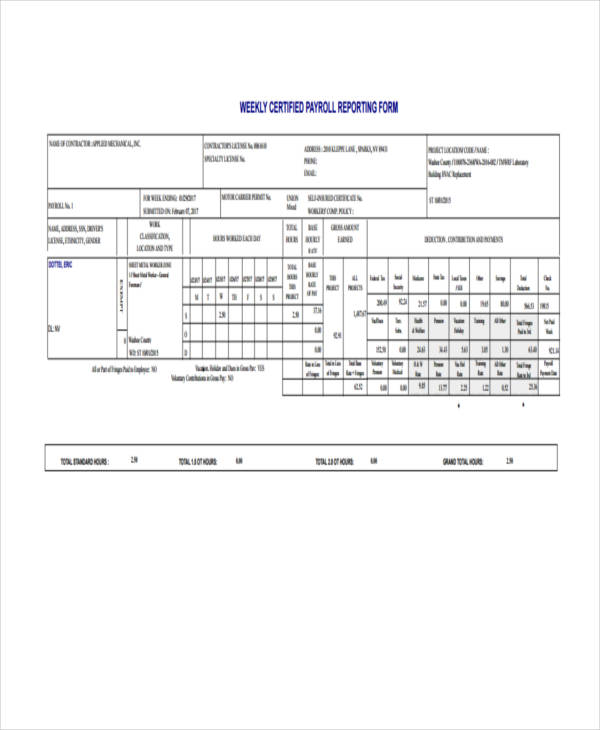 weekly certified payroll report form1