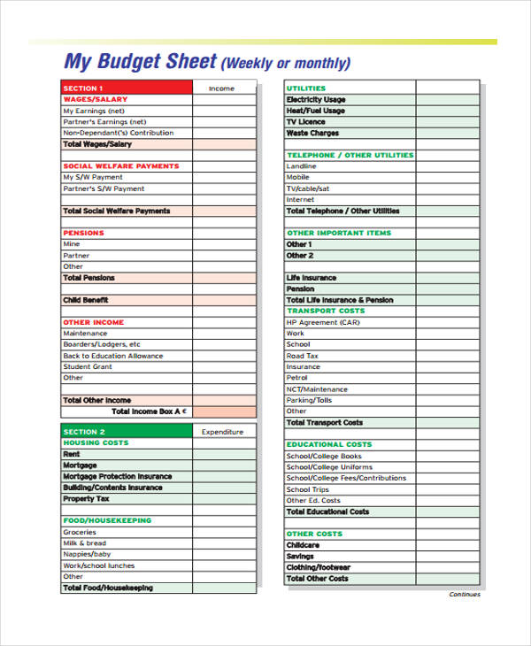 Budget Sheet Income Weekly Monthly Budget Sheet Pdf Format Budget