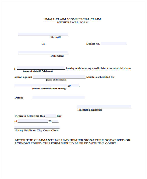 withdrawal benefit claim form