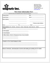 work order authorization form