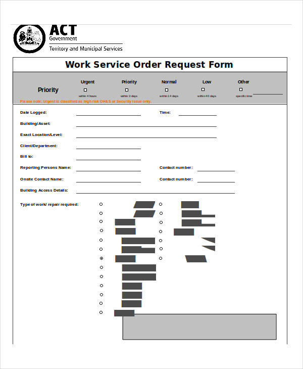 work order service request form