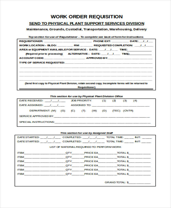 work order purchase requisition form