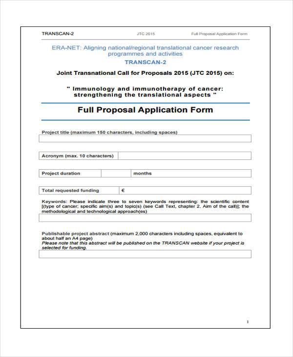 work proposal application form
