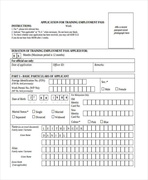 work training pass application form