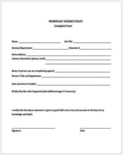 workplace violence complaint form