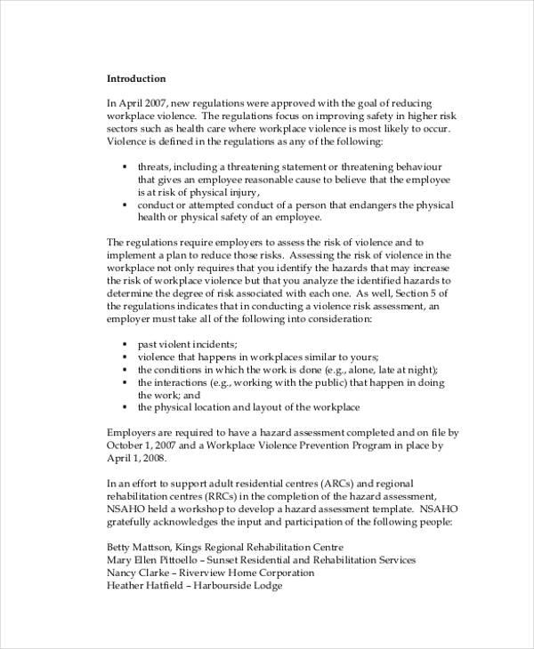workplace violence risk assessment form2
