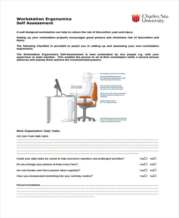 workstation assessment template - 35 self assessment form templates pdf doc