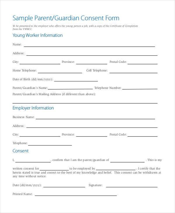 written parental consent form