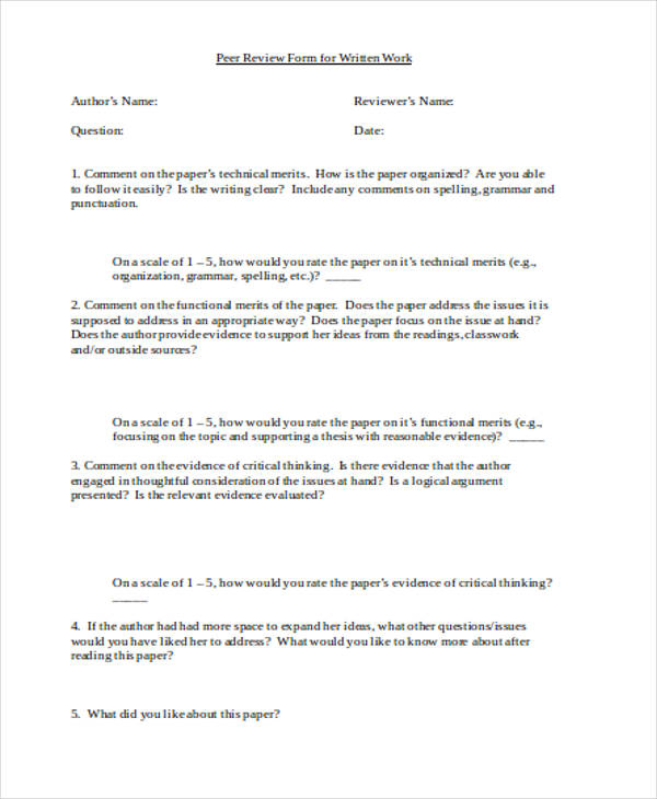 written work peer review form