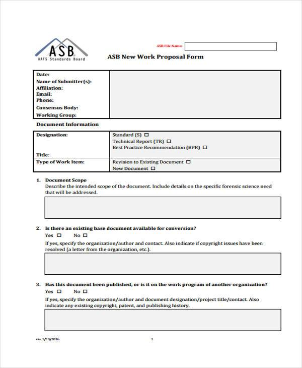written work proposal form example