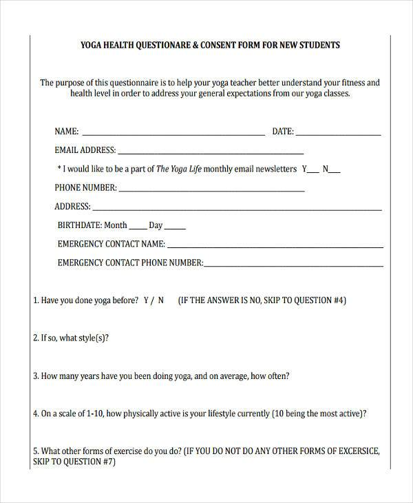 yoga questionnaire consent form