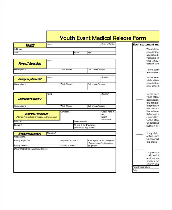 youth event medical release form