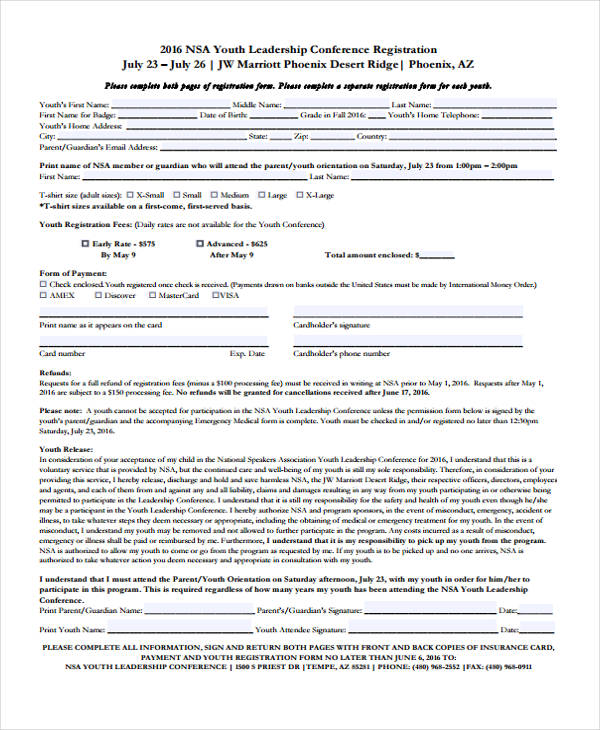 youth leadership conference registration form1