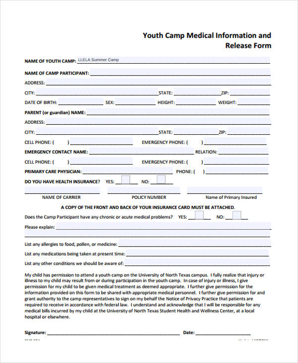youth medical information release form