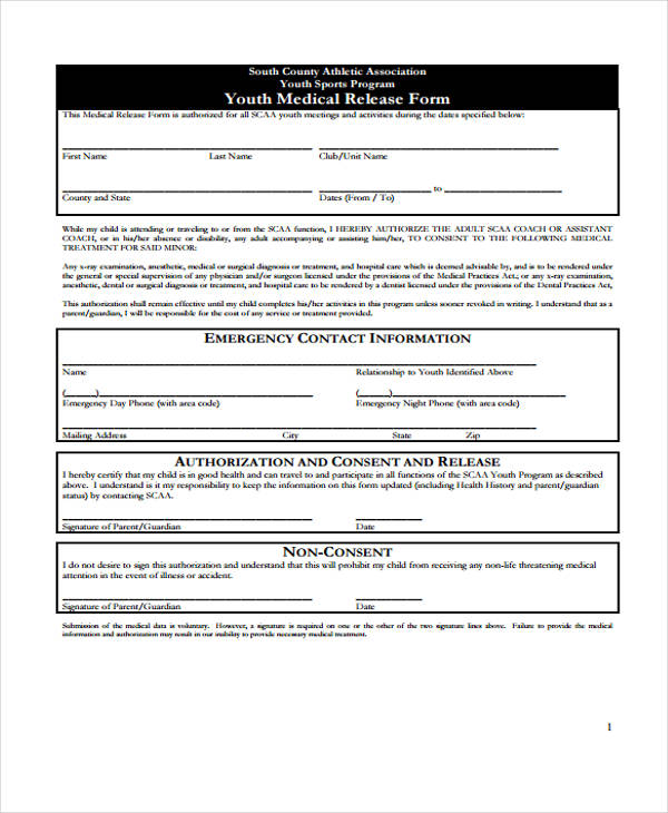 youth medical release form