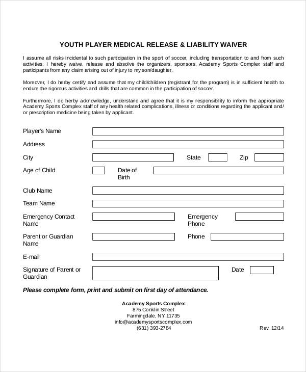 youth player medical release form