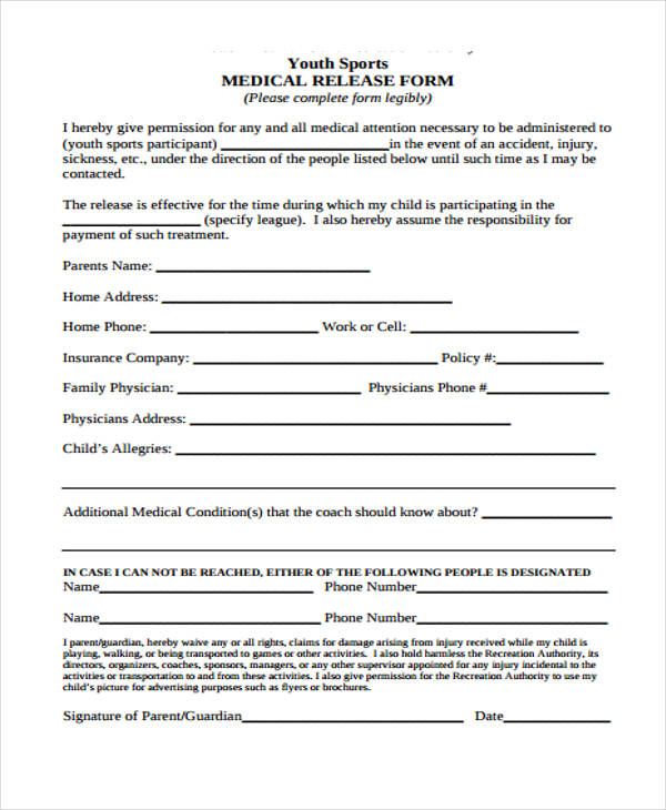youth sports medical release form2