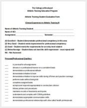 athletic training evaluation form