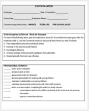 child care teacher evaluation form