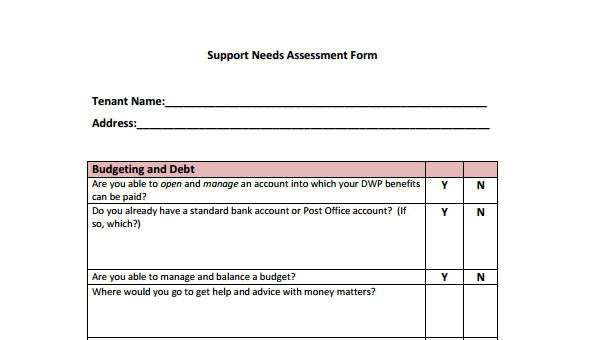 Needs Assessment Form Template