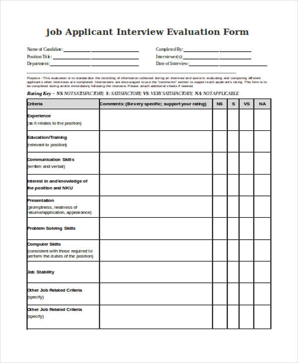 Sample Interview Evaluation Forms