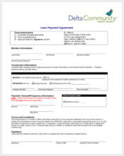 loan payment agreement form